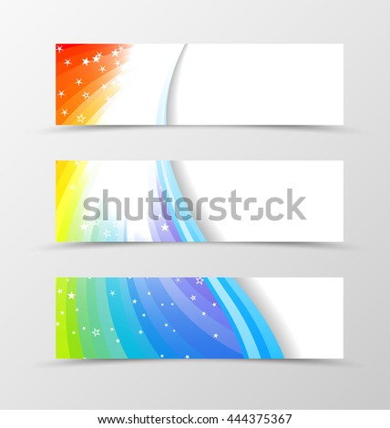 Set of banner rainbow design. Shiny banner for header in rainbow color with blue lines and white stars. Design of banner in wavy spectrum style. Vector illustration - stock vector