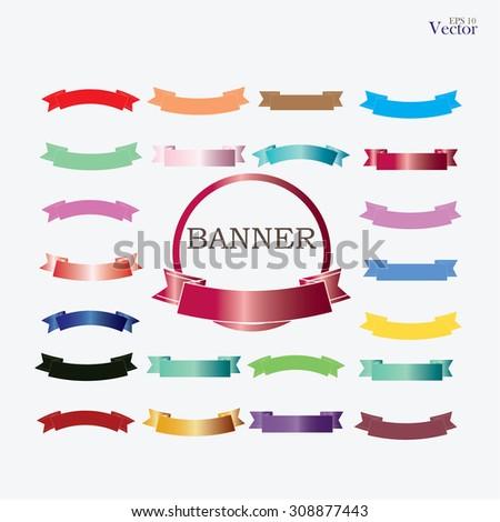set of banner,set of ribbon, banner vector,ribbon vector .vector illustration  - stock vector