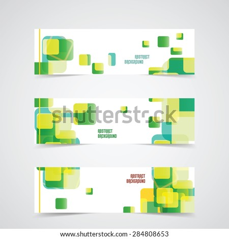 Set of Banner Templates for design with Abstract Background in green and yellow. Vector illustration, Vector Design Concept - stock vector