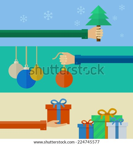 Set of banners christmas concepts in flat design. Vector illustration - stock vector