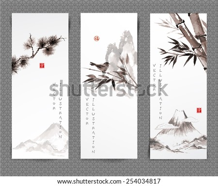 """Set of banners hand-drawn in traditional Japanese style sumi-e. Vector illustration. Hand-drawn with ink. Sealed with hieroglyphs """"luck' and """"happiness"""" - stock vector"""