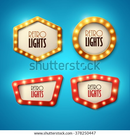 Set of banners in vintage style. Frames with shining lights. Vector illustration. - stock vector