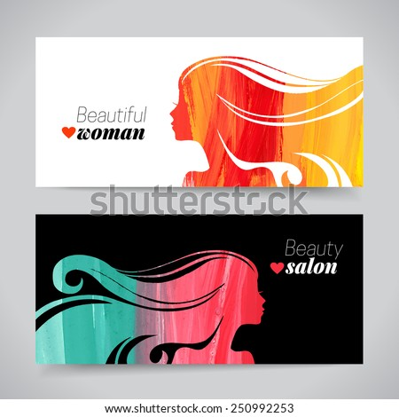 Set of banners with acrylic beautiful girl silhouettes. Vector illustration of painting woman beauty salon design - stock vector