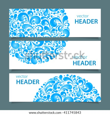 Set of banners with circle water drops decoration made of swirls shapes, vector illustration - stock vector