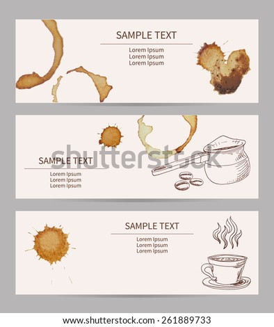 Set of banners with coffee stains - stock vector
