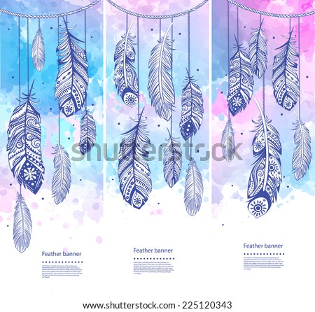 Set of banners with Ethnic feathers for your business - stock vector