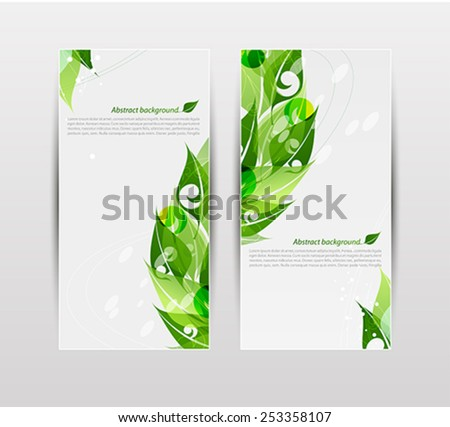 Set of banners with fresh green leaves - stock vector