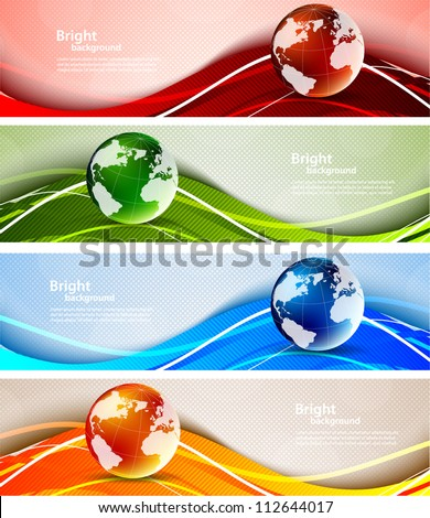 Set of banners with globes - stock vector