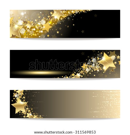 Set of banners with gold stars on a dark background - stock vector
