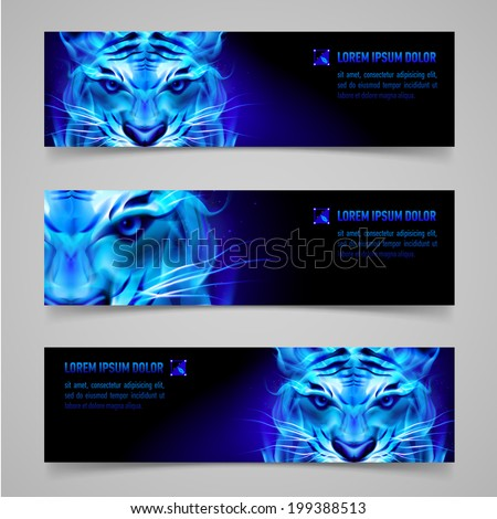 Set of banners with mystic tiger in blue flame - stock vector