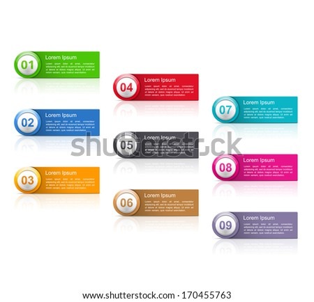 Set of banners with numbers, vector eps10 illustration - stock vector
