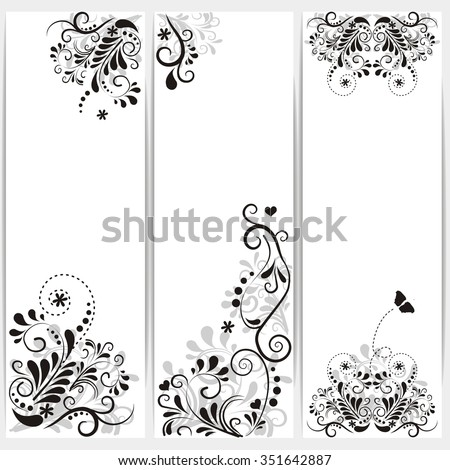 set of banners with ornaments and flowers - stock vector