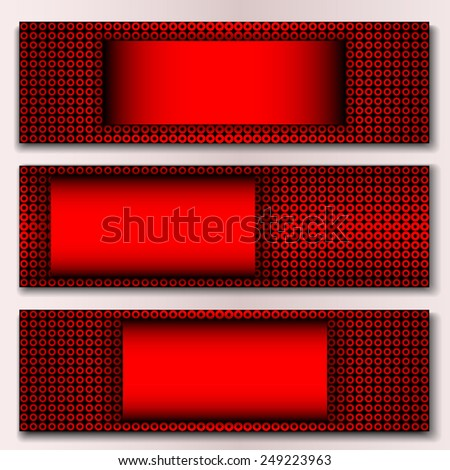 Set of banners with red background - stock vector