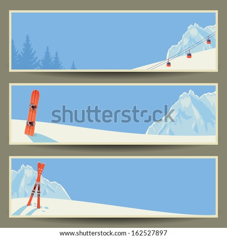 Set of banners with retro winter landscape, vector illustration, eps10. - stock vector