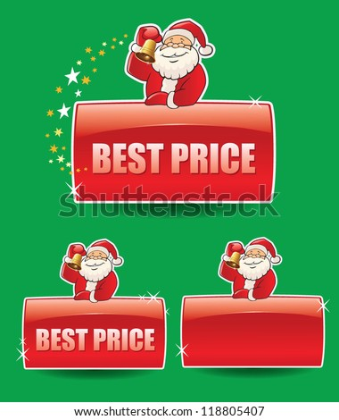 set of banners with santa claus - stock vector