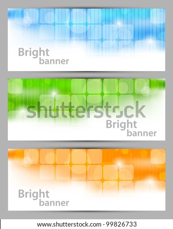 Set of banners with squares and circle - stock vector