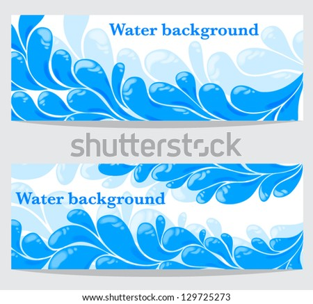 Set of banners with water drops - stock vector