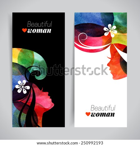 Set of banners with watercolor beautiful girl silhouettes. Vector illustration of woman beauty salon design - stock vector
