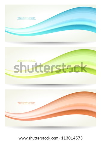 Set of banners with waves.  Vector. - stock vector