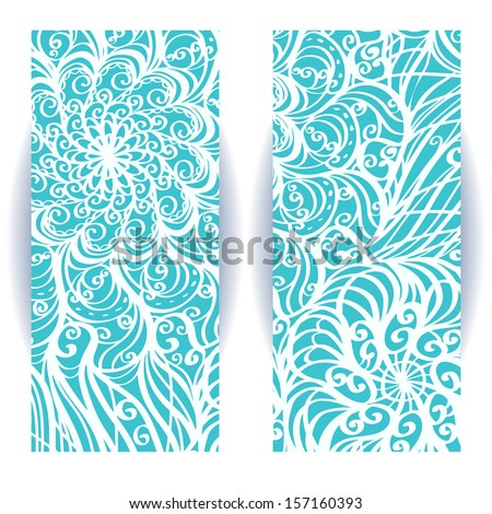 Set of banners with winter pattern - vector - stock vector