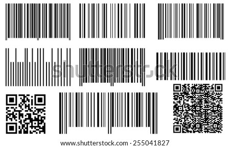 set of bar codes and qr codes - stock vector