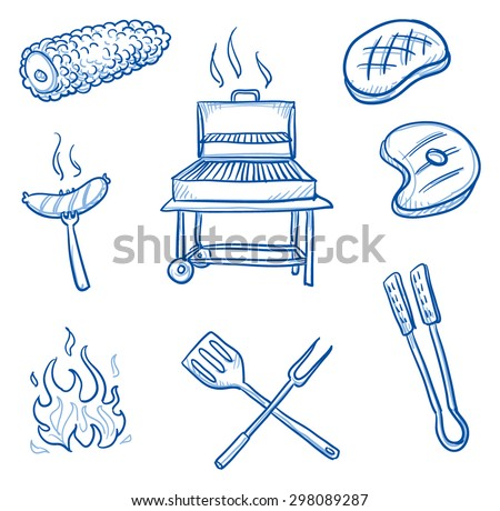 Set of barbecue icons: sweet corn, fire, saussage, steak, meat, grill, turner. Hand drawn doodle vector illustration. - stock vector