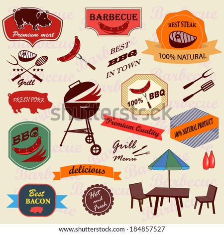 Set of barbecue labels,icons - stock vector
