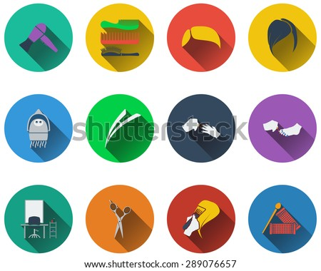 Set of barber icons in flat design. EPS 10 vector illustration with transparency. - stock vector