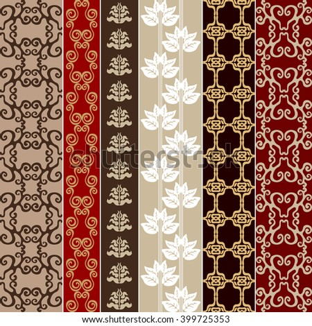Set of baroque seamless borders. Damask prints, oriental motifs, neoclassical patterns. Vintage textile collection. Red and golden shadows palette.  - stock vector