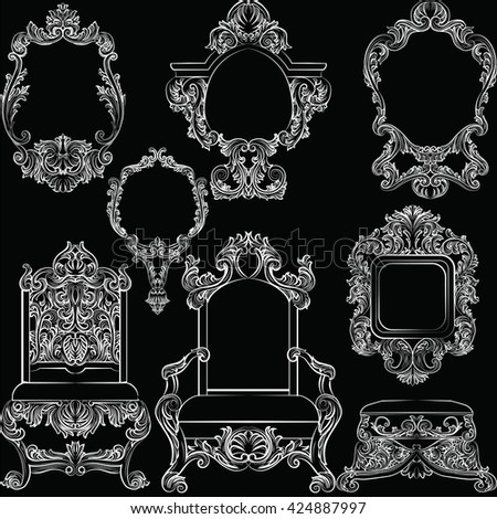 Set of Baroque Vintage Decoration Frames and Furniture. Flourishes Royal Rich Ornaments and Frames. Retro Style Collection for Cards, Invitations, Banner, Poster, Badges, Logotypes, Placards - stock vector