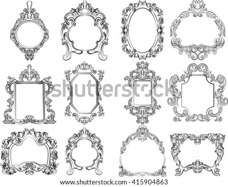 Set of Baroque Vintage Decoration Frames. Flourishes Royal Rich Ornaments and Frames. Retro Style Collection for Cards, Invitations, Banner, Poster, Badges, Logotypes, Photos, Placards - stock vector