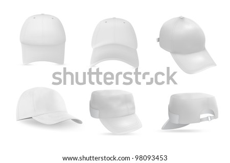 Set of baseball and military white caps templates. - stock vector
