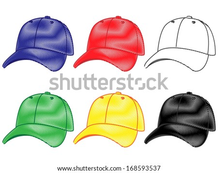 Set of Baseball Caps in Different Colours Blue Red White Green Yellow Black Pencil Style 2 - stock vector