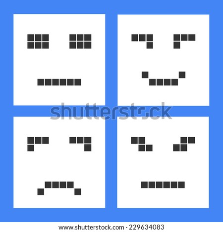 Set of basic emoticons in flat design. - stock vector