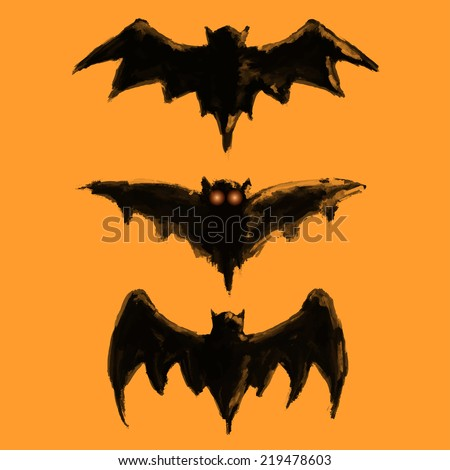 set of bat painted with a brush - stock vector