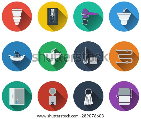 Set of bathroom icons in flat design. EPS 10 vector illustration with transparency. - stock vector