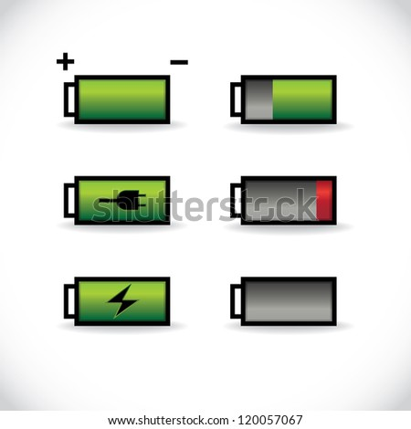set of batteries with different level of charge, illustration - stock vector