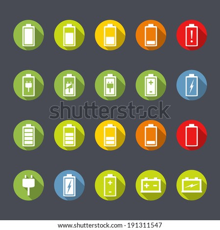 Set of battery and accumulator icons, flat design, vector eps10 illustration - stock vector