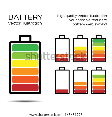 Set Of Battery Charge Level Indicator. Vector illustration. Eps10. - stock vector