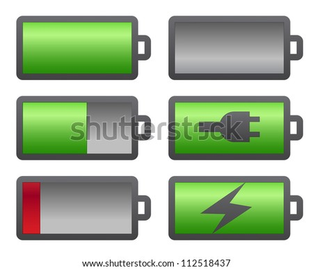 Set of battery charge level indicators on white - stock vector