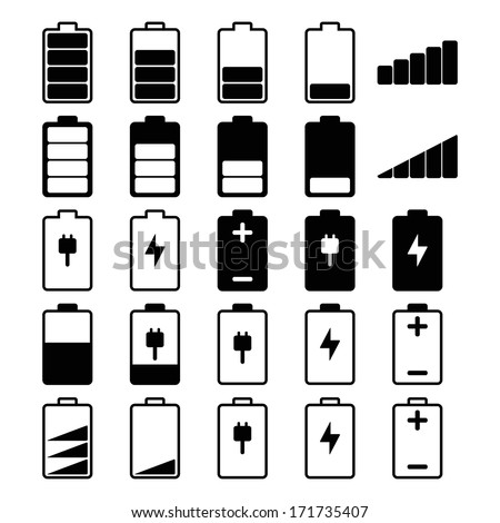 Set of battery charge level indicators. Vector illustration  - stock vector