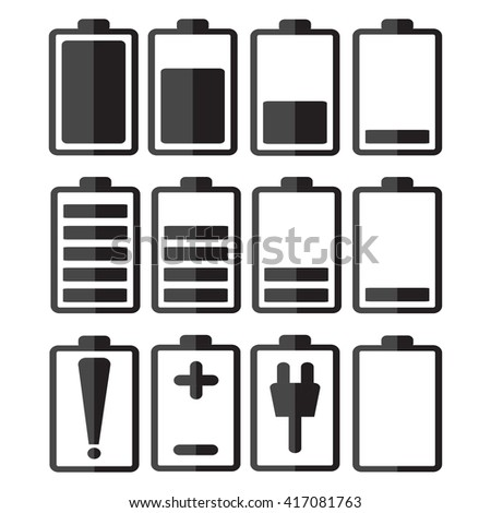 Set of battery charge level indicators. Vector illustration.Set of battery charge level indicators icon,Set of battery charge level indicators art,Set of battery charge level indicators symbol. - stock vector