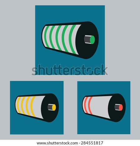Set of Battery Charge Status. Full, Half, Empty Level Indicator. Red, Yellow, Red Status. Vector Illustration - stock vector