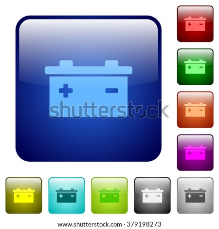 Set of battery color glass rounded square buttons - stock vector