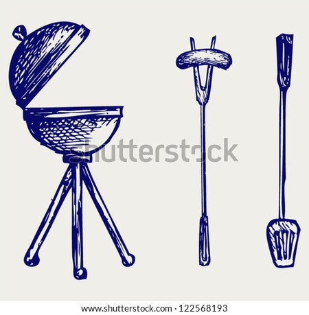 Set of bbq objects. Doodle style - stock vector
