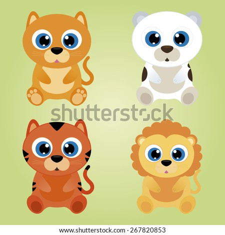 Set of beautiful animals on a colored background. Vector illustration - stock vector