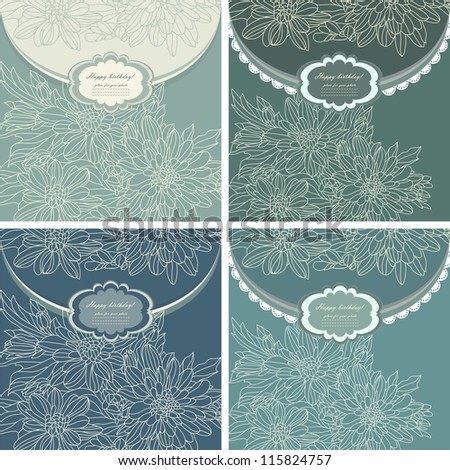 Set of beautiful baby invitation card background with your text (vector eps 10) - stock vector