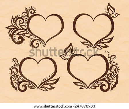 Set of beautiful black-and-white symbol of a heart with floral design and butterfly. Perfect for background greeting cards and invitations to the day of the wedding, birthday, Valentine's Day - stock vector