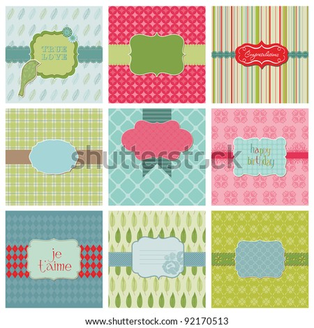 Set of Beautiful Cards - for birthday, wedding, congratulation, invitation, greetings in vector - stock vector