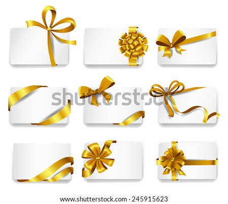 Set of beautiful cards with gold gift bows with ribbons. Vector illustration - stock vector